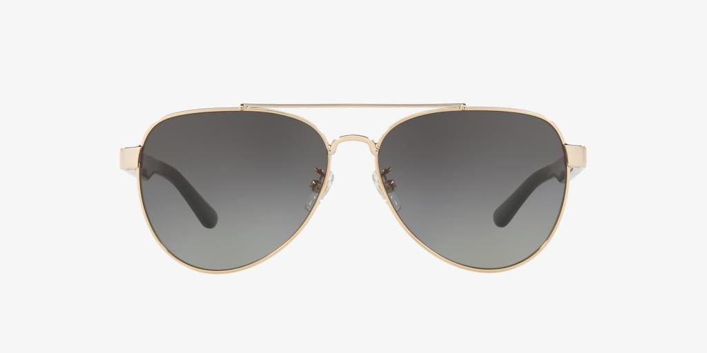 Tory Burch TY6070 Shiny Light Gold Metal Sunglasses