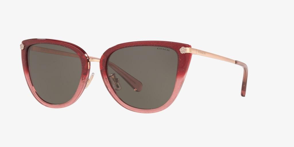 Coach HC8276 56 L1099 Burgundy/Pink Glitter Sunglasses