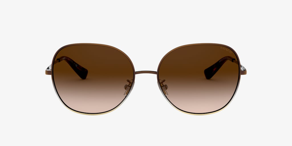 Coach HC7108 57 L1111 Brown Silver Gold Gradient Sunglasses