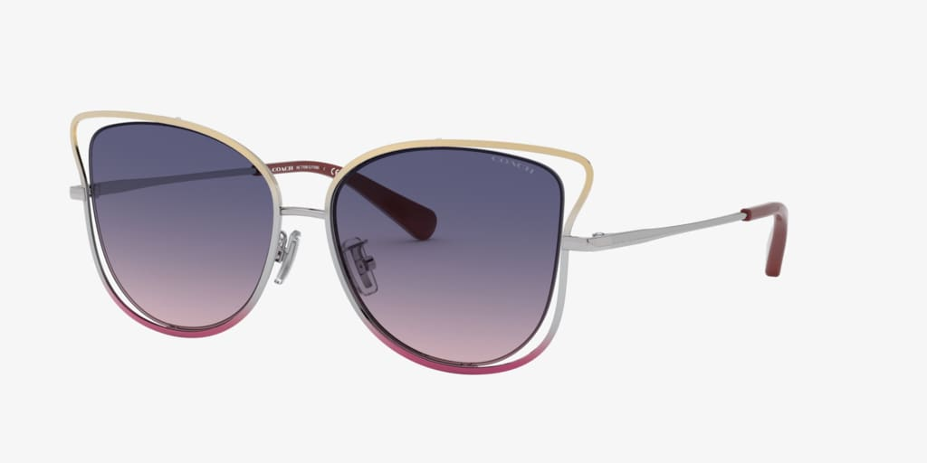 Coach HC7106 55 L1108 Bronze/Silver/Pink Gradient Sunglasses