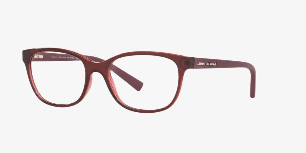 Armani Exchange AX3037 Shiny Transparent Burgundy Eyeglasses