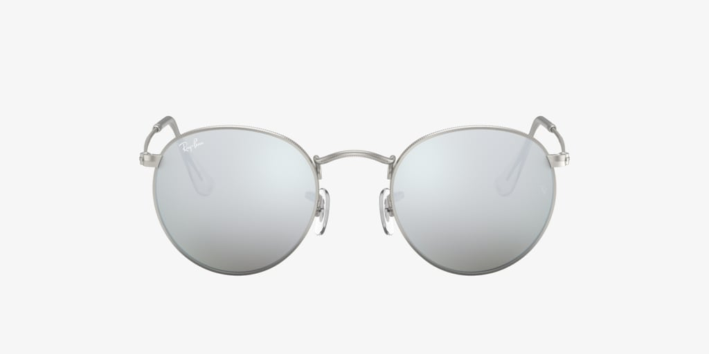 Ray-Ban RB3447 50 ROUND METAL Matte Silver Sunglasses