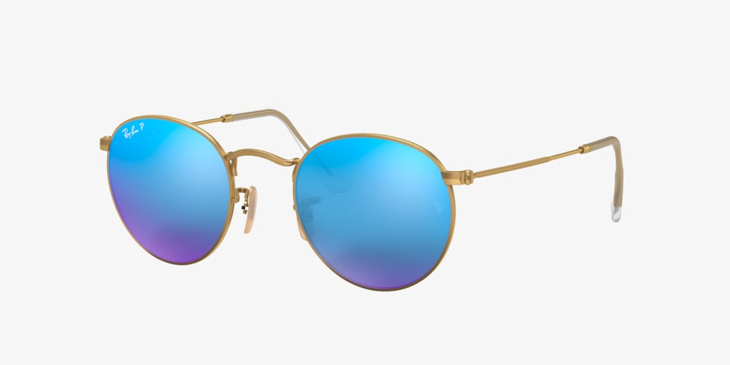 Ray-Ban RB3447 50 ROUND METAL Matte Gold Sunglasses