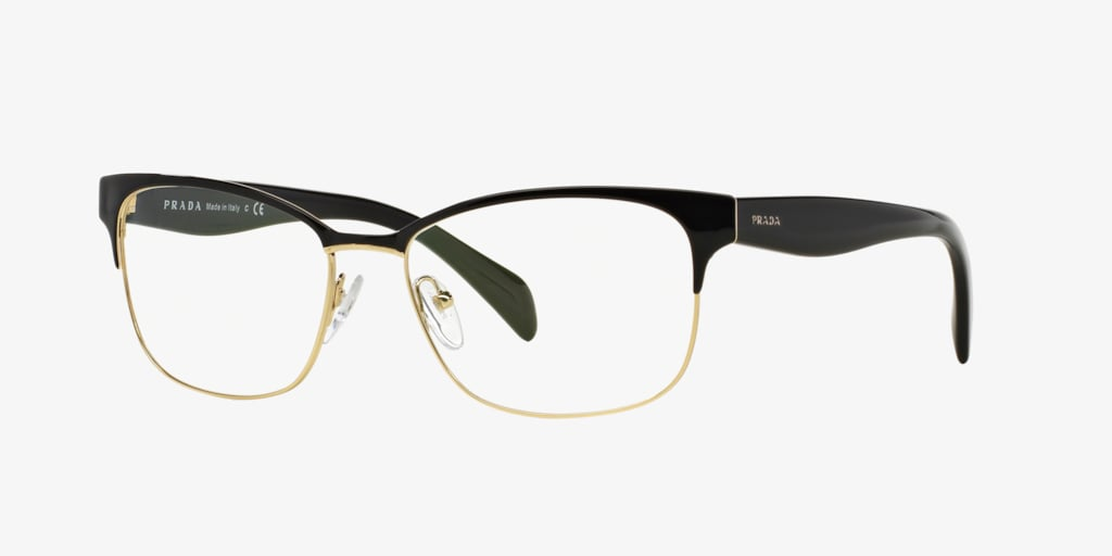 Prada PR 65RV Black On Pale Gold Eyeglasses