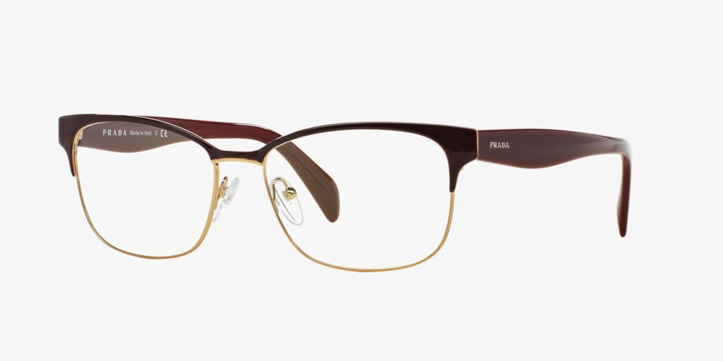 Prada PR 65RV Bordeaux On Pale Gold Eyeglasses