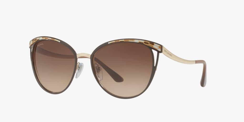 Bulgari BV6083 56 Brown/Pale Gold Sunglasses