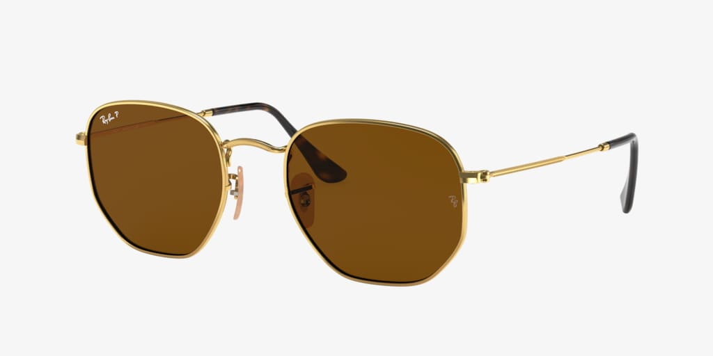 Ray-Ban RB3548N 51 HEXAGONAL Gold Sunglasses