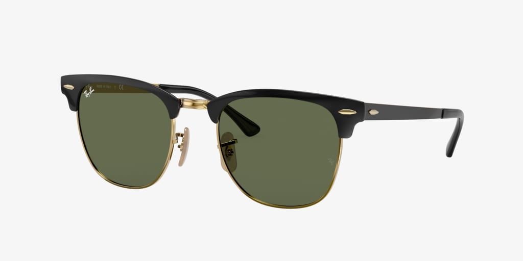 Ray-Ban RB3716 51 CLUBMASTER METAL Black on Gold Sunglasses
