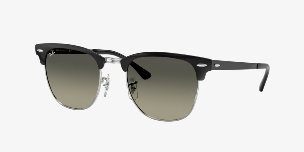 Ray-Ban RB3716 51 CLUBMASTER METAL Black On Silver Sunglasses