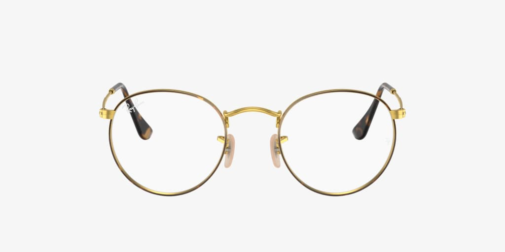 Ray-Ban RX3447V ROUND METAL Havana on Gold Eyeglasses
