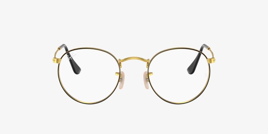 Ray-Ban RX3447V ROUND METAL Black on Gold Eyeglasses