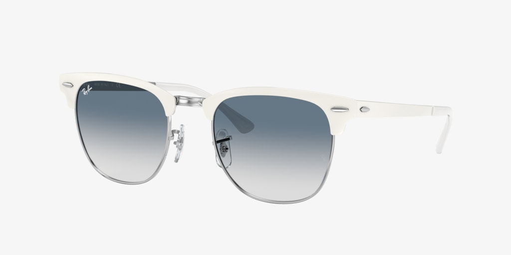 Ray-Ban RB3716 51 CLUBMASTER METAL White On Silver Sunglasses