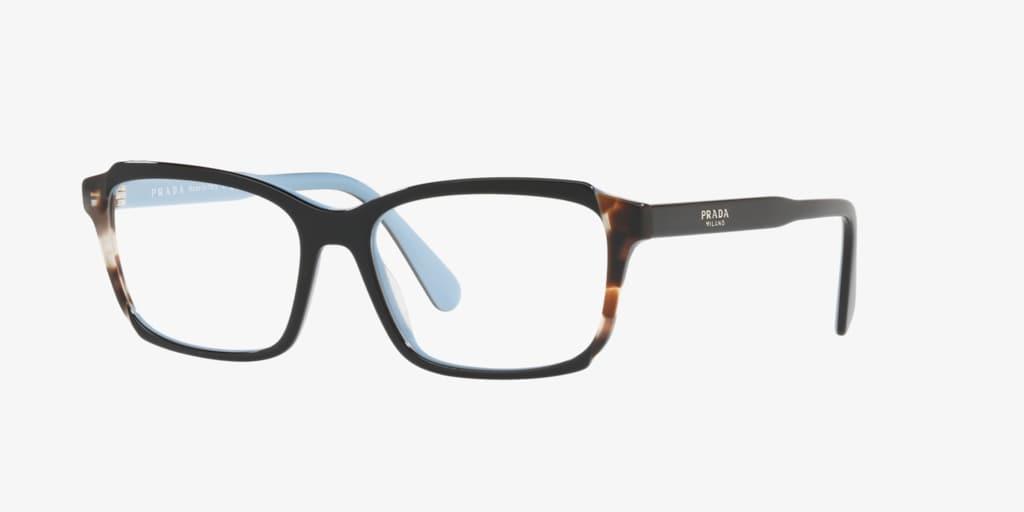 Prada PR 01VVF Black/Azure/Spotted Brown Eyeglasses
