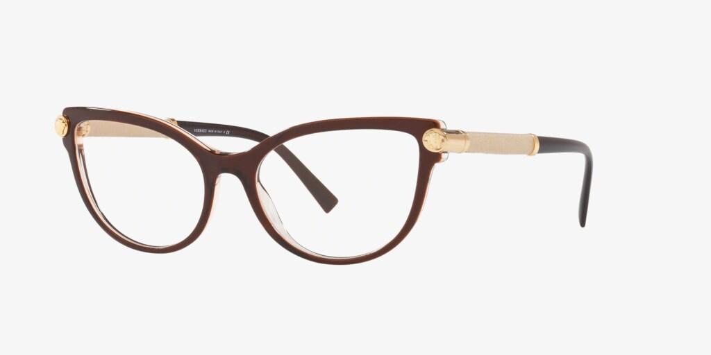 Versace VE3270Q V-ROCK Transparent Brown/Crystal Eyeglasses