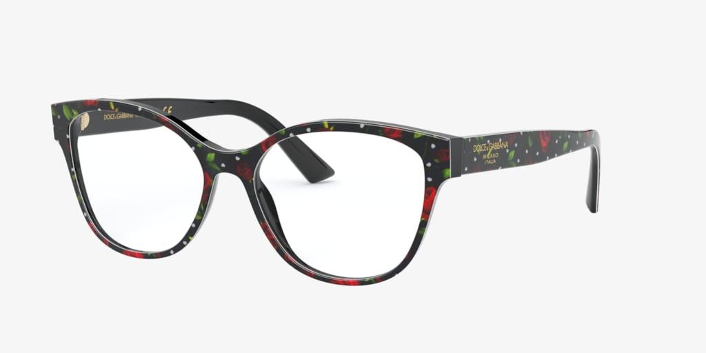 Dolce&Gabbana DG3322 Black Print Roses Eyeglasses