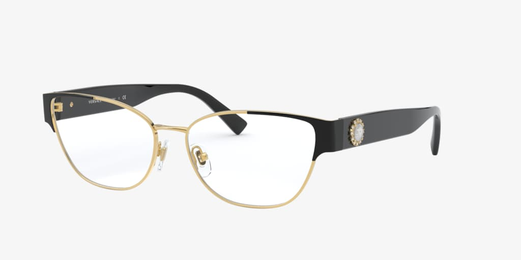 Versace VE1267B Black on Gold Eyeglasses