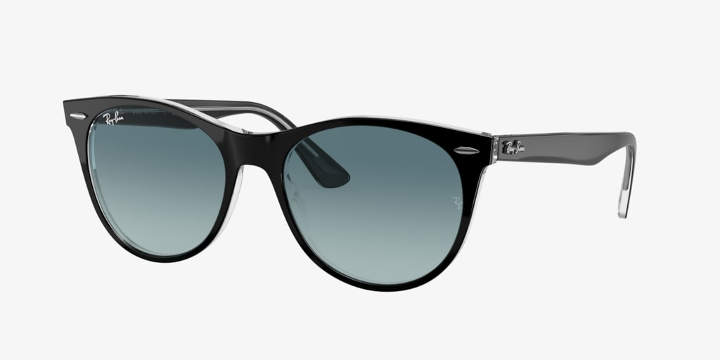 Ray-Ban RB2185 55 WAYFARER II Black on Transparent Sunglasses